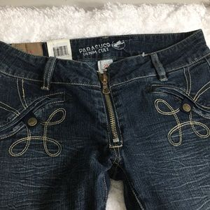 Parasuco Blue Stretch Jeans Exposed Zipper Flare